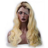 perruque blonde de cheveux humains achat en gros de-1b 613 Blonde Body Wave Perruques de Cheveux Humains Deux Tons Noir À Blonde Full Lace Wig Perruque # 613 Cheveux Humains Sans Colle Perruques Expédition Rapide