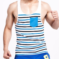 Wholesale tank tops styles for men - Summer Style Fashion Men Tanks Tops Brand Seobean Stripe O -Neck Tanks For Men Slim Sleeveless Men Vests
