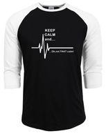 taxa de algodão venda por atacado-Mantenha A Calma E ... Não Que A Calma - Engraçado Ecg Heart Rate Paramédico Camisa Da Enfermeira T 100% Algodão raglan Manga T-Shirts dos homens 2017 novo