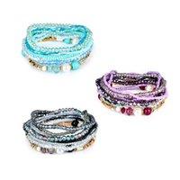 bracelets en cristal stretch pour filles achat en gros de-Mode Perle Bracelet Charme Cristal De Bohême Coloré Perle Stretch Multicouche Bracelets Femmes Filles Bracelet Bijoux Multicolore Libre DHL H89F