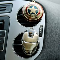 Wholesale auto perfume car air freshener - 2018 New Iron Man Captain America shield Car outlet perfume original auto perfumes Air Freshener Car Air Conditioning Vent Clip