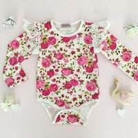 Wholesale Ruffled Diaper - 2018 INS hot Baby Girl Infant Toddler Rose Flower Floral Romper Onesies Jumper Jumpsuits Dress Diaper Covers Lace Ruffle Sleeve Shoulder