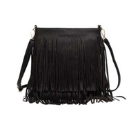 Wholesale new handbag trends resale online - 2018 new style Tassel Fringe Handbags Women Fashion Trend PU Leather Shoulder Bag Ladies Black Leather Crossbody Bags Bolsa Feminina