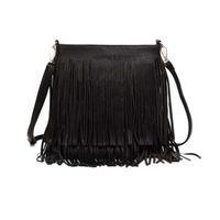 bolsas de borla flecos al por mayor-2018 nuevo estilo Borla Fringe Bolsos de Las Mujeres de Moda Trend PU Bolso de Hombro de Cuero Señoras de Cuero Negro Crossbody Bolsos Bolsa Feminina