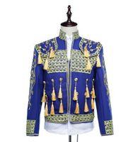костюмы мужские дизайнерские оптовых-Men Suits Designs Stage Costumes For Singers Men Blazer Dance Clothes Jacket Star Style Royal Formal Dress Punk Personalized