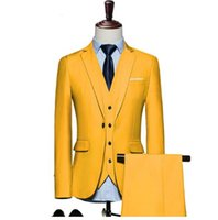 trajes de boda púrpura oscuro para hombre al por mayor-Trajes para hombre 2018 Slim Fit 3 piezas Novio Traje de boda 4XL 5XL 6XL Rojo Amarillo Verde oscuro Blanco púrpura trajes para hombres Q20