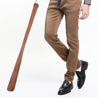 Wholesale Wood Carving China - Shoehorn 55 Cm Solid Wood Brown Crafts Natural Logs Laborsaving Long Handle Shoe Lifter Professional Convenient Durable 6 3sc V