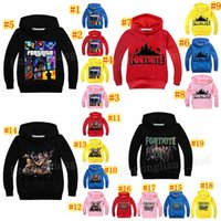 Wholesale kids character sweatshirts - 19 Colors Kids Fortnite Casual Sweatshirt Baby Cotton Spring Fall Hoodies Pullover Long Sleeve Blouse Fortnite Sweatshirts 10pcs MMA188