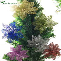 Wholesale Pink Artificial Christmas Trees - 5pcs 10cm Shiny Artificial flowers Wedding Party Decoration flower Christmas Tree Decorations new year festive party supplies-9z