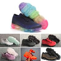 zapatos para niños gratis al por mayor-Nike air max voparmax hotsale Rainbow 2018 SEA VERDADERO Shock Kids Running Shoes Moda Niños Casual o Calzado deportivo envío gratis