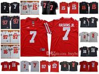 jerseys del balompié de la universidad del ncaa al por mayor-NCAA Ohio State Buckeyes # 2 JK Dobbins # 7 Dwayne Haskins Jr. # 97 Nick Bosa # 15 Ezekiel Elliott College Camisetas de fútbol blanco Rojo Negro