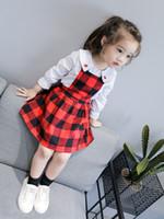 bebek kıyafeti vintage stili toptan satış-Bebek Kız Ekose Elbise Sonbahar kafes Tarzı Kırmızı ve siyah Baskı Elbise Parti Backless Elbiseler Kızlar Için Vintage Kız Giyim A00091
