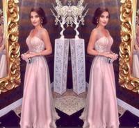 ingrosso le ragazze si veste il colore rosa di sera 12-Blush rosa abiti da sera 2019 una linea spaghetti scollo a V maggiore che borda lungo chiffon partito di promenade red carpet ragazze pageant abiti economici