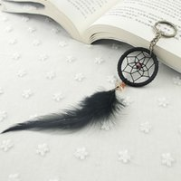 Wholesale dreamcatcher keychains - Dreamcatcher Keyring Creative Black Feather Manual Keychain Pendant Female Fashion Bohemian Style Key Buckle Gifts New Arrived 3 6xr Y