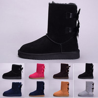 Wholesale shoes bows flowers for sale - Tot UGS winter Australia Classic snow Boots good fashion WGG tall boots real leather Bailey Bowknot women s bailey bow Knee Boots men shoes