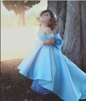 Wholesale Gold Dresses Big Bows - Cute Blue Off The Shoulder Girls Pageant Dresses Children Big Bow Satin High Low Flower Girl Dresses For Wedding Kids Birthday Party Gowns.