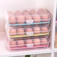 ingrosso uova trasparenti-Scatola di immagazzinaggio trasparente per uova Frigorifero Crisper 15 griglie Scatola di immagazzinaggio dell'uovo griglia portatile uovo cartoni attrezzo della cucina HH7-863