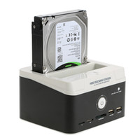 Wholesale sata hdd reader for sale - Group buy 2 quot quot USB to SATA IDE External HDD Hard Drive Docking Station Card Reader USB Hub with OTB One Touch Backup