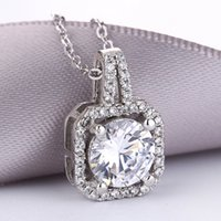 Wholesale First Class Sets - 2018 fashion new classic wedding commemorative gift S925 pure silver micro set AAA class zircon necklace elegant first choice