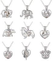 Wholesale White Wishing Trees - New!!!Hot!Love Wish Pearl Cages Locket Necklace Hollow Out Animal Oyster Freshwater Pearl Elephant Life Tree Love DIY Mother's Day Jewellery