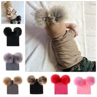 Wholesale newborn wool hat resale online - Baby INS knit hat Children s knitted caps extra large double ball wool warm earmuffs hat kids hair ball hat GGA845