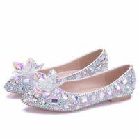 güzel kadınlar düz ayakkabılar toptan satış-Yeni Güzel AB kristal Kadınlar Flats rhinestone Sivri Burun Düz zarif Düğün Ayakkabı uygun Artı Boyutu gelin daireler