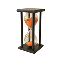 уникальные песочные часы оптовых-60мин деревянный песок песочные часы Песочные часы таймер часы декор уникальный подарок тип: 60мин черный рамка оранжевый песок