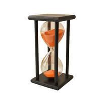 relojes de arena al por mayor-Reloj de reloj de arena de reloj de arena de arena de madera de 60 min reloj de arena única decoración del regalo tipo: 60 min marco negro naranja arena