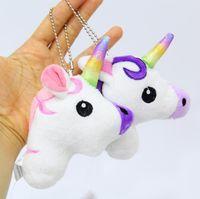 Wholesale beautiful unicorn - 13cm Cute Cartoon Unicorn Plush Doll Toy Rainbow Simple Soft Ornament Beautiful Bags King Decoration keychain Pendant KKA4829
