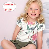 kızlar için güzel üstler toptan satış-Bebek çiçek baskı T-shirt Çocuklar Kız Yaz kısa Kollu Tops Yürüyor kız 1-6 T için güzel gömlek