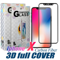 kutu filmleri toptan satış-Tam kavisli cam için iphone xs max koruyucu film karbon fiber yumuşak kenar ekran koruyucu temperli cam ile iphone 7 8 6 artı için kutu