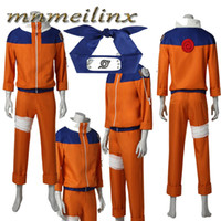 Wholesale naruto cosplay outfits online - Popular Anime Naruto Uzumaki Naruto Cosplay Costume Halloween Outfit Custom Size Any Size