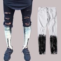 garoto jeans legal venda por atacado-Homens Frente Zipper Jeans Skinny Rasgado Aflito Motociclista Jeans Meninos Dos Homens Legal Hip Hop Calças Jean Calças BFSH0821