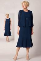 ingrosso bolero blu-Abiti da sposo in madreperla blu navy con giacca bolero elegante da sposa in chiffon elegante di alta qualità