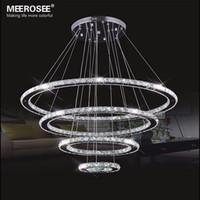 araña de cristal moderna bricolaje al por mayor-MEEROSEE Lámpara LED Moderna Lámpara de Cristal de Acero Inoxidable led Kroonluchter Lámpara Colgante 4 Anillos DIY Diseño Diamond Chandelier