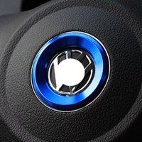 logos vw r al por mayor-El estilo del logotipo de las Volante emblemas Anillo engomada de la decoración para Volkswagen VW Passat B7 B8 Bora polo del golf 6 7 Jetta MK6 RS