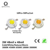 3w led ışık kaynağı toptan satış-Tam Wa 3 W Yüksek Güç LED Epistar Çip 260-280LM Soğuk Doğa Sıcak Beyaz 3000 K 4500 K 6500 K Spotlight Için Işık Kaynağı