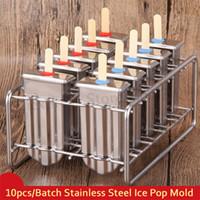 donmuş daireler toptan satış-Dondurulmuş Paslanmaz Çelik Popsicle Kalıpları 10 adet / Toplu Sopa Tutucu Gümüş Ev DIY Yuvarlak / Düz Dondurma Kalıpları