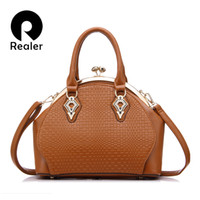 Wholesale embroidery mini dress design - Realer brand design handbags women fashion black tote bag high quality PU leather shoulder bags ladies zipper Messenger bag