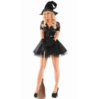 vestidos de bruxas sexy venda por atacado-New Sexy Black Party Dress Halloween Mulheres Preto Bela Adormecida Bruxa Rainha Trajes Carnaval Do Partido Cosplay Vestido Extravagante