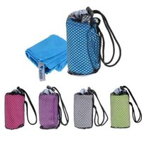 esporte de tecido de microfibra venda por atacado-Toalhas de praia para Adulto Microfibra Tecido Quadrado de secagem Rápida Viagem Esportes toalha Cobertor Banho Piscina Camping