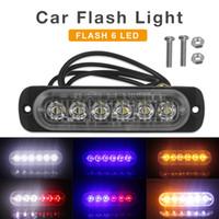 luces de advertencia autos 12v al por mayor-12V / 24V 18W 6 LED Impermeabilizante de emergencia del carro del carro Peligro de advertencia Flash Strobe Light Bar CLT_212