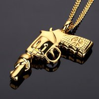 Wholesale Chain Models Gold - 2018 Model Gun hip hop Pendant Necklace 18K gold plated HIPHOP jewelry for men women