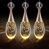 kabarcık kristal askılı aydınlatma toptan satış-Modern Kısa LED Restoran Işıkları Kabarcık Parlaklık Kristal Kolye Işık Çubuğu Çalışma Masası Oturma Odası avizeler Işıklar Aydınlatma Armatürü Lambaları