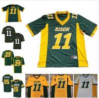 camiseta de fútbol juvenil verde al por mayor-2018 NCAA NDSU Bison 11 Carson Wentz para hombre para mujer para mujer amarillo dorado verde blanco cosido North Dakota State College para fútbol S-3XL