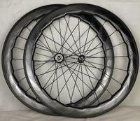 Wholesale Road Bike Wheel Sets - 2 year warranty Road bike 58mm 454 dimple carbon wheels dimple clincher tubular wheel carbon wheelset