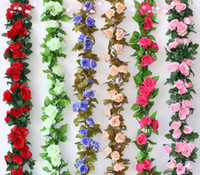Wholesale fake money for sale - 2 M Artificial Fake Silk Rose Flower Ivy Vine Garland Wedding Party Home Decor
