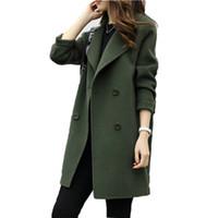 kadın için ince ceket toptan satış-2019 Kadın Kruvaze Palto Uzun Kollu yün Palto Turn-down Yaka Slim Fit Kadınlar Ordu Yeşil Bahar Rüzgar Geçirmez Sıcak ceket