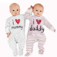 mamelucos pies al por mayor-2018 new Baby Rompers First Movement Ropa de recién nacido mameluco con cubierta de pie Baby pijamas Stripe Body suit 1pcs / set
