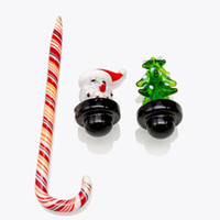 Wholesale bong christmas gifts for sale - Group buy Christmas Glass Carb Cap Cane dab tool Dabber colored Caps fit Thermal Quartz Banger Glass Bongs Water Pipes Best Gift